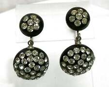 Vintage Rhinestone Black Lucite Earrings Dangle Drop Pave Rhinestone Cabochon