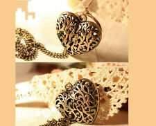 Vintage RETRO bronze Love Heart hollow out Flower Pendant Necklace Sweater P30