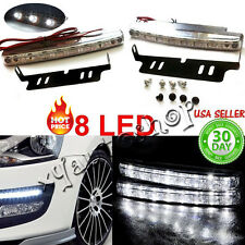 2X 8LED White Car Driving Lamp Fog 12v Drl Daytime Running Light US Seller