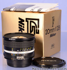 NIKON NIKKOR 20MM F2.8 AIS BLACK LENS W/ BOX +CAPS NEAR MINT