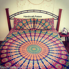 Indian Peacock Mandala Bedspread Queen Bedding Set Hippie Bed Cover With Pillows