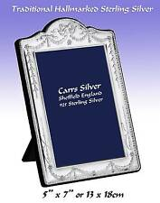 """Traditional Carrs Sterling Silver Hallmarked 5x7"""" Ornate Photo Frame.(BA33-SS)"""