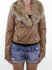 PARISIAN @ NEW LOOK tan brown eather faux fur trim biker jacket size 10 eu 38