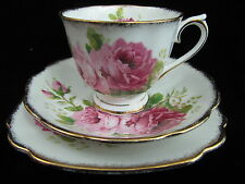 ROYAL ALBERT AMERICAN BEAUTY CUP AND SAUCER TRIO