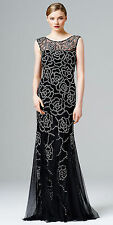 AIDAN MATTOX BEADED CAMELLIA EVENING GOWN SIZE 2 BLACK