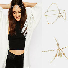 Bohemian Metal Pearl Head Chain Forehead Headband Piece Hair band Jewelry Gift