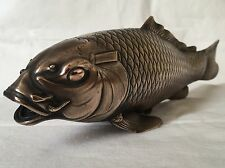 Victorian Period Oriental Bronze Koi Carp With Character Mark To Base