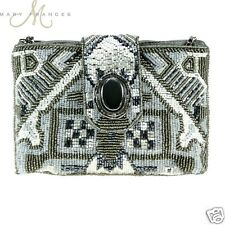 Mary Frances Gray Wht Magic Carpet Mini Handbag Crossbody Bead Small Clutch New