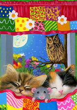 Sleeping kittens cat mouse owl bird quilt moon fantasy OE aceo print art
