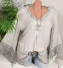 Häkel BLUSE TUNIKA Vintage Fransen Grau SHIRT Ibiza OVERSIZE Hippie 36 38 40