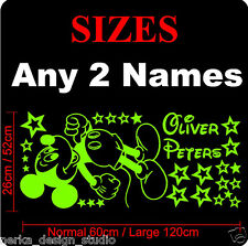 WALL STICKERS MICKEY MOUSE PERSONALIZED KIDS NAME VINYL WALL DECAL  N128