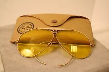 VINTAGE RAY BAN BAUSCH & LOMB YELLOW SHOOTER LENSES SUNGLASSES BULLET HOLE 60S