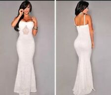 NEW Elegant White Lace Evening Dress Size 12-14