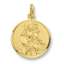 Solid 9 Carat Yellow Gold 22mm St Christopher Pendant - British Made  Hallmarked