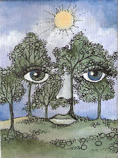 ACEO surreal landscape face trees original painting and pen by MOTYL