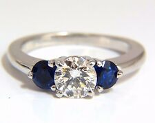 █$7000 1.57CT NATURAL DIAMONDS SAPPHIRE THREE STONE RING 14KT ROYAL BLUE