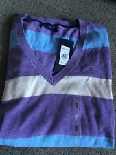 NWT TOMMY HILFIGER WOMENS Classic V-NECK ARGYLE SWEATER Size S $59.50
