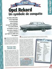 Opel Record 1957 Germany Car Auto FICHE FRANCE