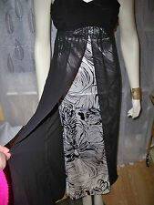KALEIDOSCOPE BLACK/WHITE CHIFFON/SATIN MAXI DRESS SZE 10,12,16 CLEARANCE