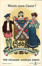 Heraldic Comic. What's Your Crest? in Reliable Series # 9308. Engaged Couples.