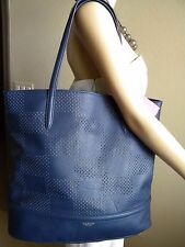 ISAAC MIZRAHI NY Blue Leather Kay Check Perf Tote Handbag Purse Large $228