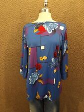 Vtg 70s NEW NOS Spring Season Loose Fit Blue Geometric Oriental Floral Top Sz M