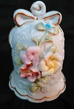 Vintage White Porcelain Bell 3D Pastel Flowers Gold Trim Embossed Leaves 4.5""