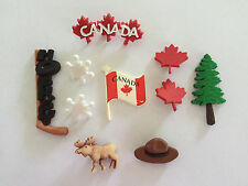 Novelty Dress It Up buttons - Canada flag Maple leaf moose trooper hat tree 3572