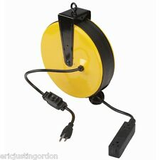 30 Ft Retractable Power Cord Reel Triple Tap Circuit Breaker Free Shipping