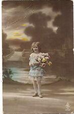 bonne fête  belle petite fille au bouquet ,fillette  1917