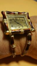VINTAGE SWISS 17 JEWEL GENEVA BANGLE ENAMEL BAMBOO WATCH