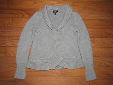 Talbots 100% Cashmere Gray Open Front Cardigan Sweater P