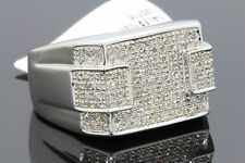 .85 CARAT 100% GENUINE DIAMONDS MENS WHITE GOLD FINISH ENGAGEMENT PINKY RING