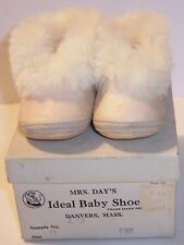 vintage mrs days pink baby slipper shoes leather & rabbit fur + socks for a doll