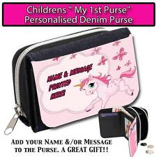 PERSONALISED PINK UNICORN & BUTTERFLY CHILDRENS GIRLS DENIM MY FIRST PURSE ST225