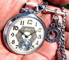 Antique 12 Size 17 Jewels Deco Pocket Watch Waltham