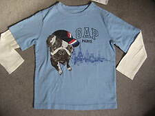GAP LONG SLEEVE PARIS T SHIRT IN SKY BLUE WITH WHITE SLEEVES - AGE 3 YEARS BNWT