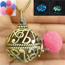 Music Notation Locket Necklace Perfume Aromatherapy Essential Oil Diffuser Glow