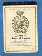 SAINT JULIEN 2E GCC VIEILLE ETIQUETTE CHATEAU GRUAUD LAROSE 1987 RARE §01/08