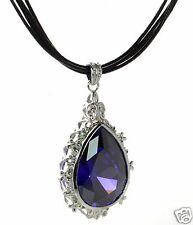 Solid 925 Sterling Silver Large Teardrop Purple CZ Multi Strand Cord Necklace '