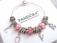 Authentic Pandora Silver Bangle Charm Bracelet, with European Charms Pink Love