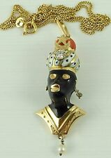 18 Carat diamond set yellow gold Blackamoor pendant