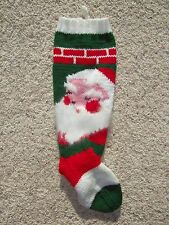 VINTAGE 1943 SANTA HAND KNIT PERSONALIZED CHRISTMAS STOCKING WITH ANGORA BEARD