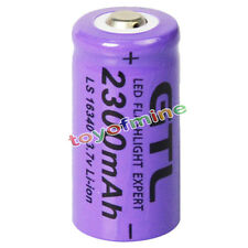 1x 3.7V CR123A 123A CR123 16340 2300mAh Purple GTL Rechargeable Battery Cell