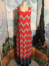 NINE WEST L CORAL MIX STRIPED ZIG-ZAG DESIGN SLEEVELESS FULL LENGTH TANK DRESS