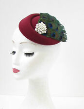 Dark Red Burgundy Peacock Feather Pillbox Hat Fascinator Hair Races Vtg 40s 550