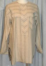 Mens Linen Tunic Caftan Cufflink Shirt Beige Striped Heavy Linen-High Quality-L