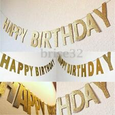 3M Gold Glitter Banner Happy Birthday Bunting Home Party Decor Photo Backdrop