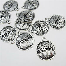 13191 30PCS Alloy Vintage Silver Round Mini Tree of Life Plant Pendant Charms