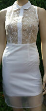 MISSGUIDED Short Party Dress with Cream Lace Net Top Zip Button BNWT Size 8